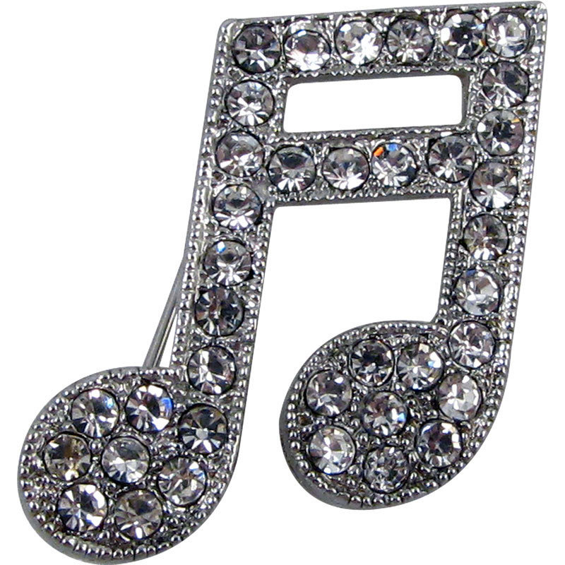 View larger image of 16th Note Rhinestone Brooch - Silver
