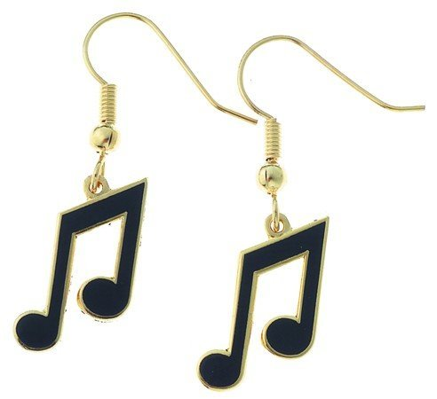 View larger image of 8th Note Earrings - Black