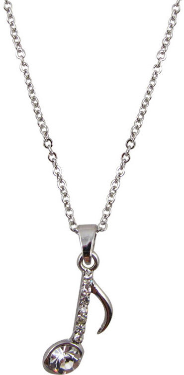 View larger image of 8th Note Necklace with Rhinestones - Silver