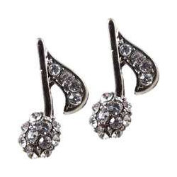 8th Note Rhinestone Earrings - Silver