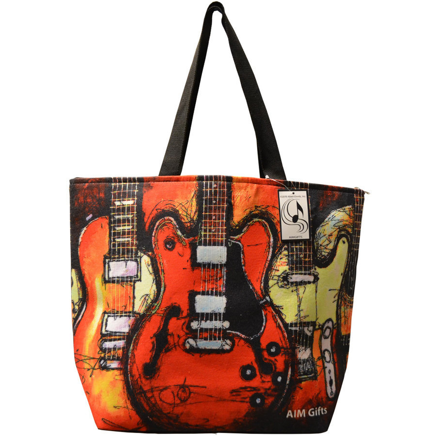 View larger image of Abstract Guitar Tote Bag - Red