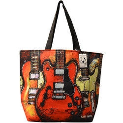 Abstract Guitar Tote Bag - Red