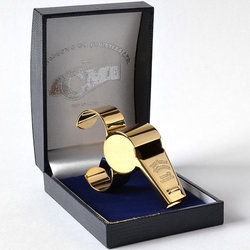 Acme 477/58.5 Whistle with Finger Plate and Box - Gold Plated