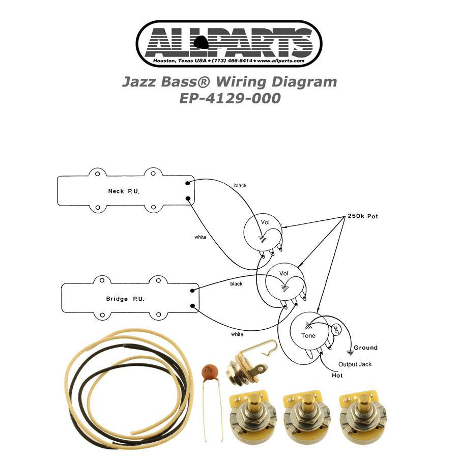 View larger image of AllParts Jazz Bass Wiring Kit
