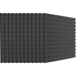 Auralex Studiofoam Pyramids - 24x24x2, Charcoal Gray, Set of 12