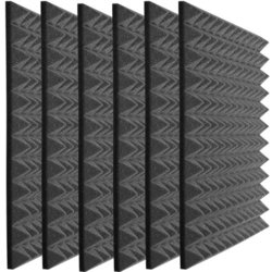 Auralex Studiofoam Pyramids - 24x24x4, Charcoal Gray, Set of 6