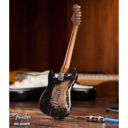 Axe Heaven FS-003 Officially Licensed Miniature Distressed Fender Strat Guitar Replica - Black Vintage