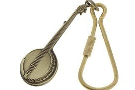 View larger image of Banjo Keychain - Antiqued Brass