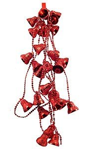 View larger image of Beaded Bells Garland  - Red