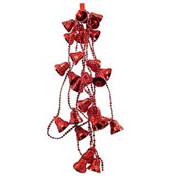 Beaded Bells Garland  - Red
