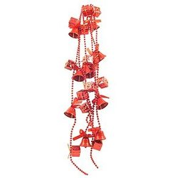 Beaded Bells Garland with Presents  - Red