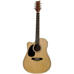 BeaverCreek BCTD101 Dreadnought Acoustic-Electric Guitar - Natrual, Left Handed