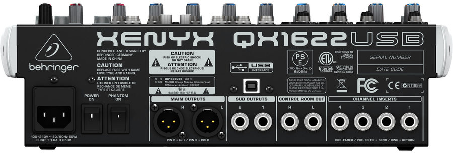 View larger image of Behringer Xenyx QX1622USB 16 Input 2/2-Bus Mixer