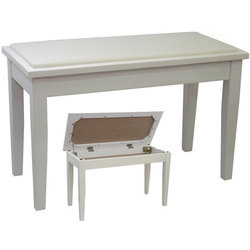 Benchworld ACE20#2CPWHT Duet Piano Bench - 30, Padded, with Storage, Polished White