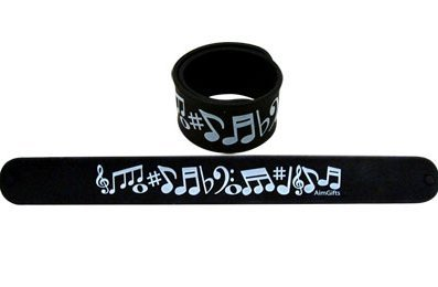 View larger image of Black Slap Bracelet with White Notes