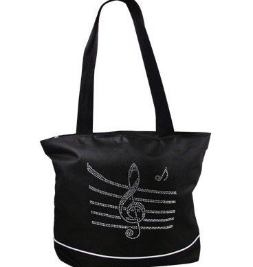 View larger image of Bling Tote Bag with Music Staff - Black