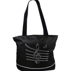 Bling Tote Bag with Music Staff - Black