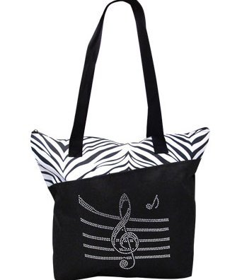 View larger image of Bling Tote Bag with Music Staff - Zebra