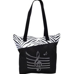 Bling Tote Bag with Music Staff - Zebra