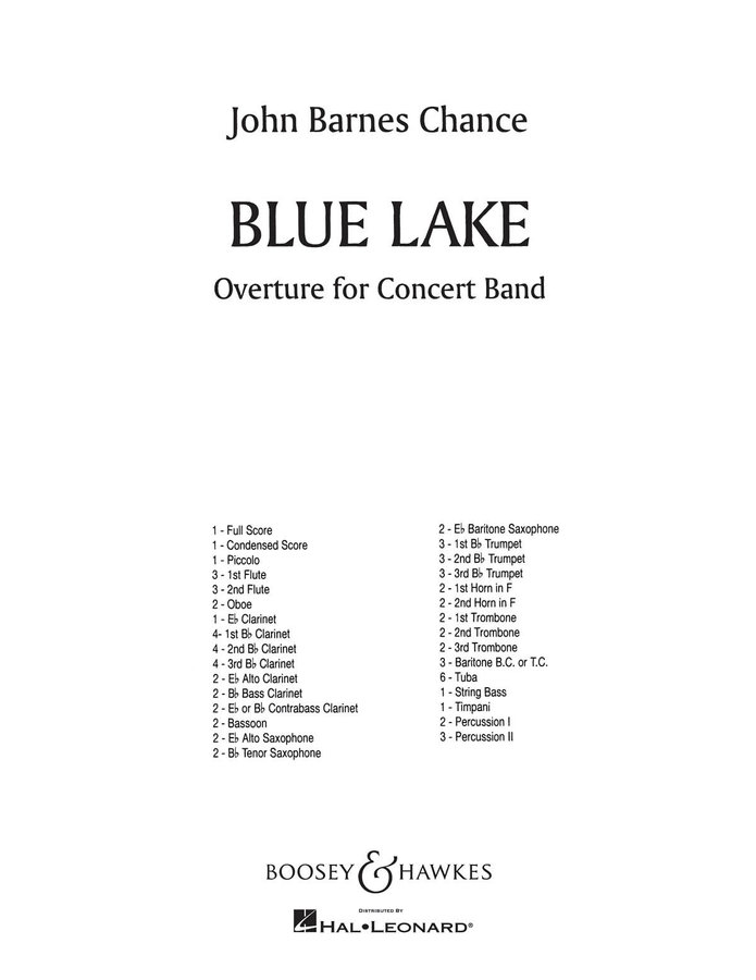 View larger image of Blue Lake Overture - Score & Parts, Grade 5