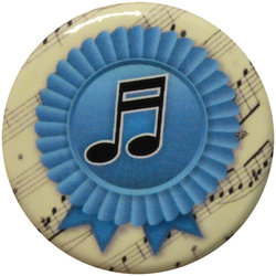 Blue Ribbon Music Note Button - 1.25