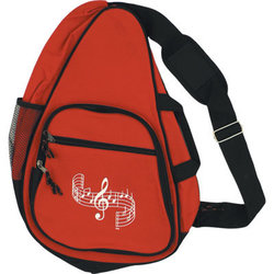 Body Backpack with G-Clef and Staff - Red