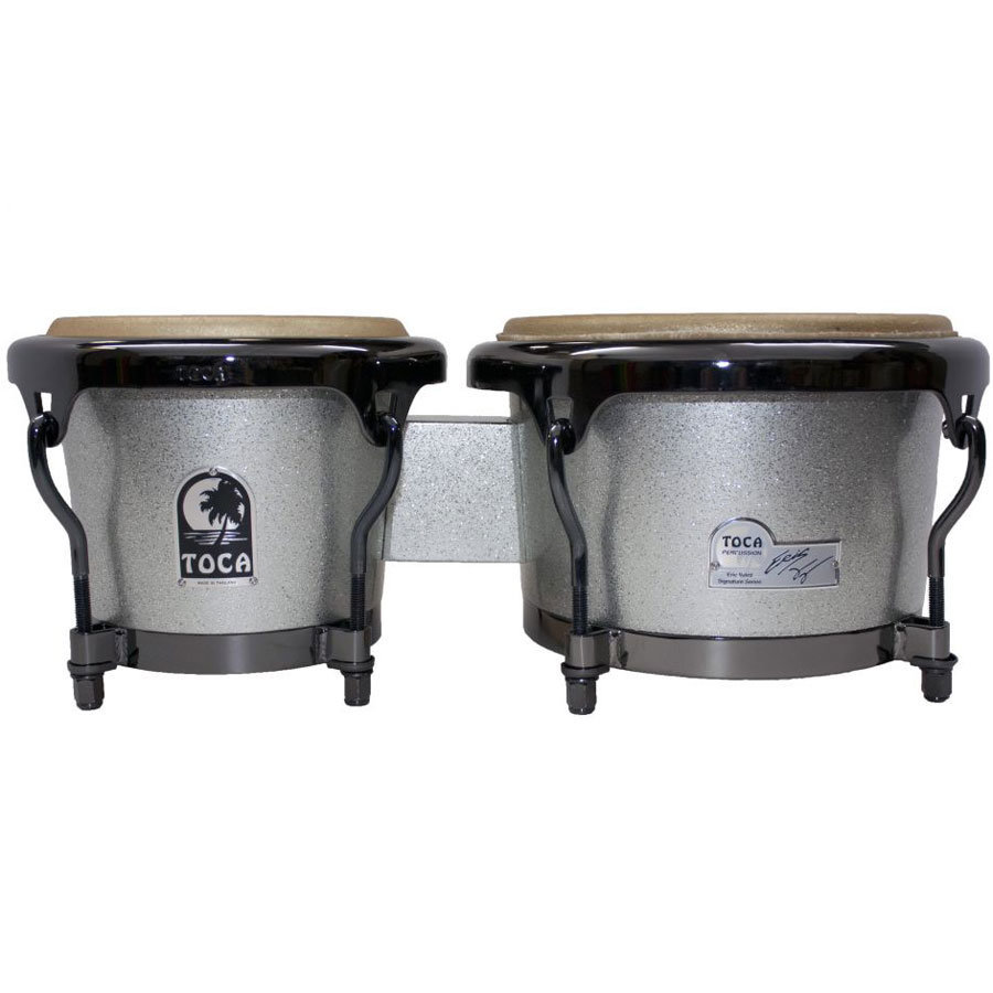 View larger image of Toca Eric Velez Signature Wood Bongos - Gun Metal Glitter