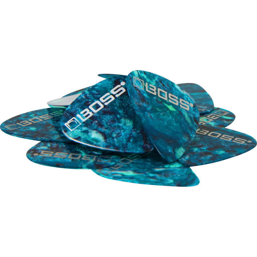 View larger image of BOSS Ocean Turquoise Celluloid Guitar Picks - Medium, 12 Pack