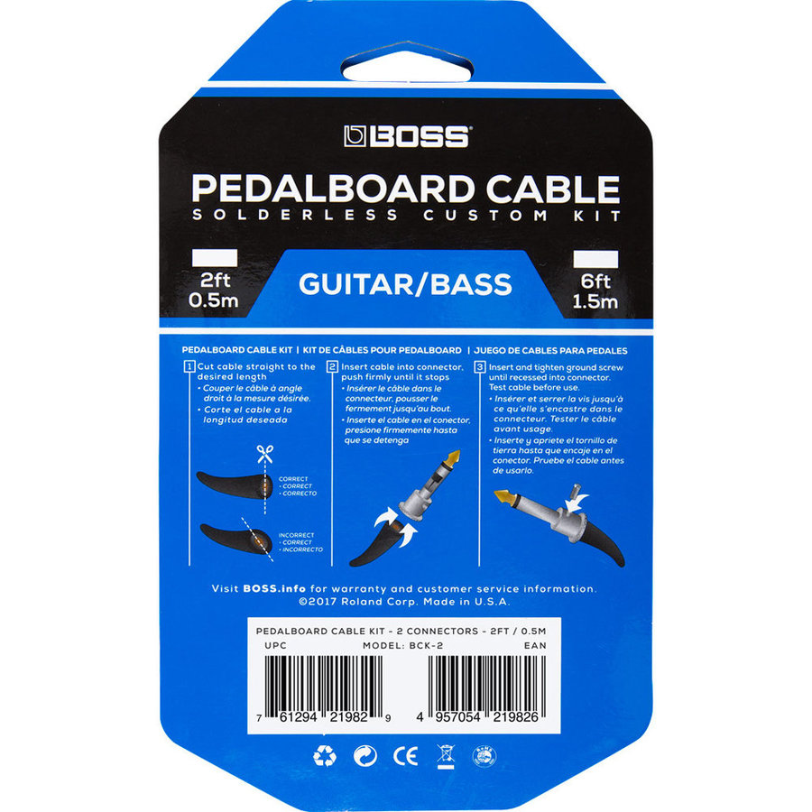 View larger image of BOSS Solderless Pedalboard Cable Kit, 2 Connectors