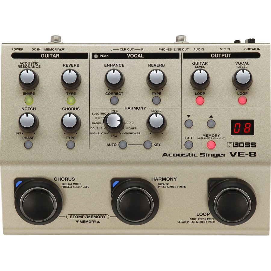 View larger image of BOSS VE-8 Acoustic Singer Multi-Effects Pedal