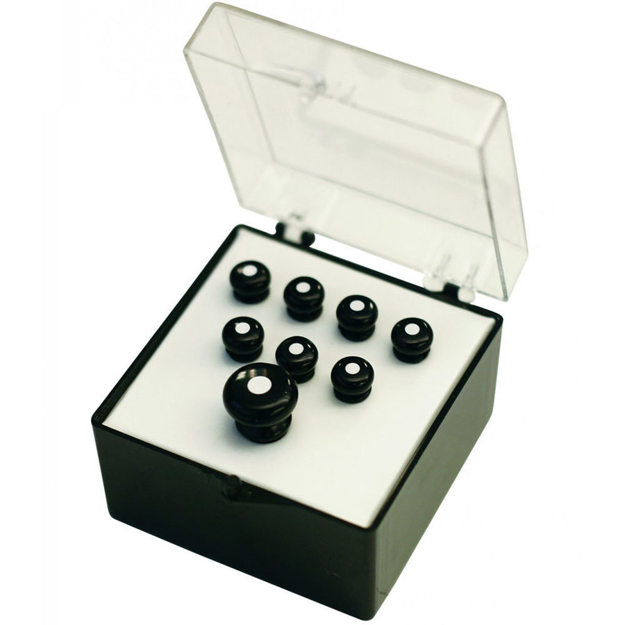 View larger image of Martin Inlaid Bridge and End Pin Set - Black with White Inlay