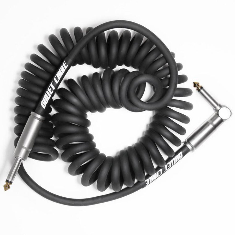 View larger image of Bullet Cable Coil Instrument Cable - Straight to Right-Angle, 15', Black