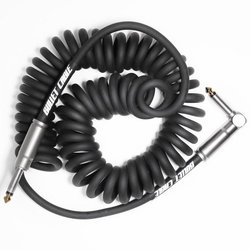 Bullet Cable Coil Instrument Cable - Straight to Right-Angle, 15', Black