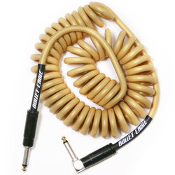 Bullet Cable Coil Instrument Cable - Straight to Right-Angle, 15', Gold