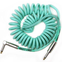 Bullet Cable Coil Instrument Cable - Straight to Right-Angle, 15', Seafoam