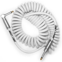 Bullet Cable Coil Instrument Cable - Straight to Right-Angle, 15', White