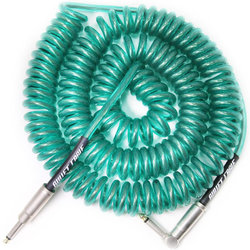 Bullet Cable Coil Instrument Cable - Straight to Right-Angle, 30', Aqua Clear