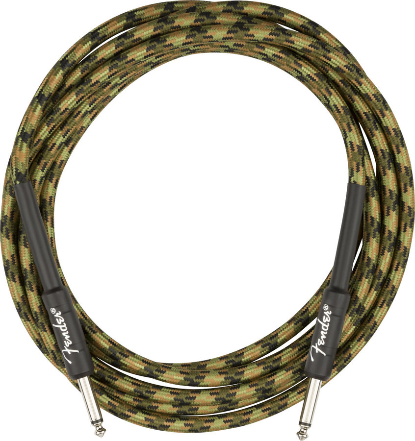 View larger image of Fender Professional Series Instrument Cable - Straight / Straight, 18.6', Woodland Camo