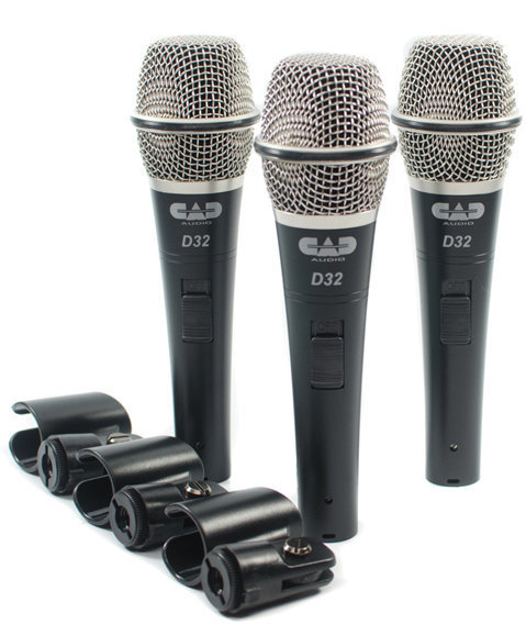View larger image of CAD D32X3 D32 Supercardioid Dynamic Vocal Microphone Set with On/Off Switches - 3 Pack