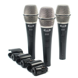 CAD D32X3 D32 Supercardioid Dynamic Vocal Microphone Set with On/Off Switches - 3 Pack