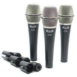 CAD D38X3 D38 Supercardioid Dynamic Instrument Microphone Set - 3 Pack
