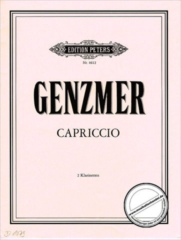 View larger image of Capriccio for 2 Clarinets (Genzmer)