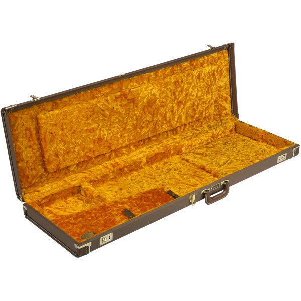 View larger image of Fender G&G Deluxe Precision Bass Hardshell Case - Brown with Gold Plush Interior