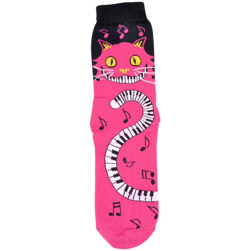 View larger image of Cat with Piano Tail Socks - Pink, Women's