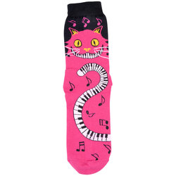 Cat with Piano Tail Socks - Pink, Women's