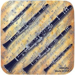 Clarinet on Sheet Music Coaster