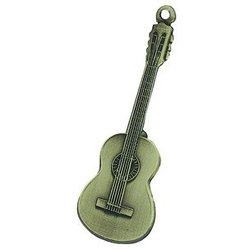 Classical Guitar Keychain - Antiqued Brass