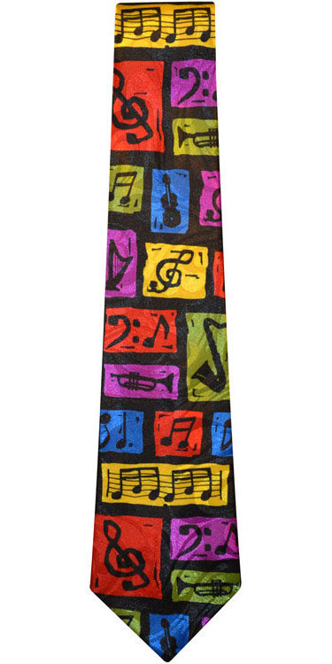 View larger image of Colorful Music Notes/Instruments Tie - Multi