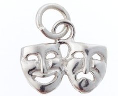 View larger image of Comedy/Tragedy Sterling Silver Charm - Small