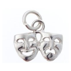 Comedy/Tragedy Sterling Silver Charm - Small